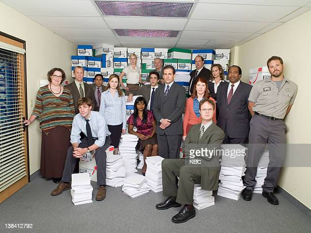 Standing Phyllis Smith as Phyllis Lapin Paul Lieberstein as Toby Flenderson Oscar Nuûez as Oscar Martinez Jenna Fischer as Pam Beesly Angela Kinsey...