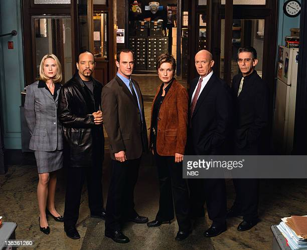"""Season 3 -- Pictured: Stephanie March as A.D.A. Alexandra Cabot, Ice-T as Detective Odafin """"Fin"""" Tutuola, Christopher Meloni as Detective Elliot..."""