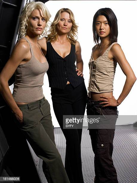 Season 3 -- Pictured: Tricia Helfer as Number Six, Lucy Lawless as Number Three, Grace Park as Number Eight --