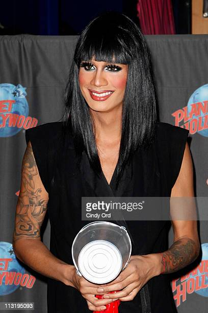 Season 3 winner of RuPauls Drag Race Raja visits Planet Hollywood Times Square on April 26 2011 in New York City