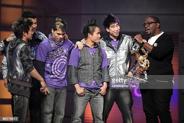 BURBANK CA MARCH 05 Season 3 Winners Quest Crew And Randy Jackson During The Taping Of