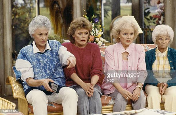 Season 4 -- Pictured: Bea Arthur as Dorothy Petrillo Zbornak, Rue McClanahan as Blanche Devereaux, Betty White as Rose Nylund, Estelle Getty as...
