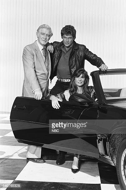 Season 4 -- Pictured: Edward Mulhare as Devon Miles, David Hasselhoff as Michael Knight, Patricia McPherson as Bonnie Barstow -- Photo by: Gary...