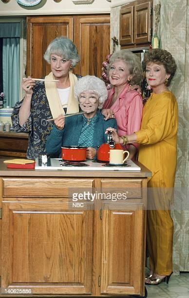 Season 4 -- Pictured: Estelle Getty as Sophia Petrillo, Bea Arthur as Dorothy Petrillo Zbornak, Betty White as Rose Nylund, Rue McClanahan as Blanche...