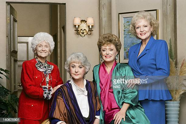 Season 4 -- Pictured: Estelle Getty as Sophia Petrillo, Bea Arthur as Dorothy Petrillo Zbornak, Rue McClanahan as Blanche Devereaux, Betty White as...