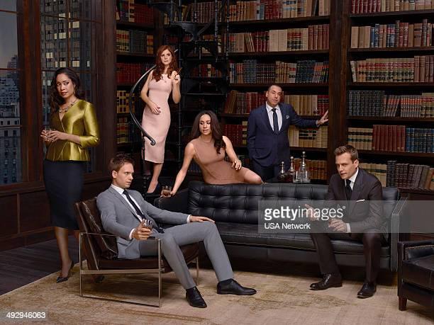4 Pictured Gina Torres as Jessica Pearson Patrick J Adams as Michael Ross Sarah Rafferty as Donna Paulsen Meghan Markle as Rachel Zane Rick Hoffman...