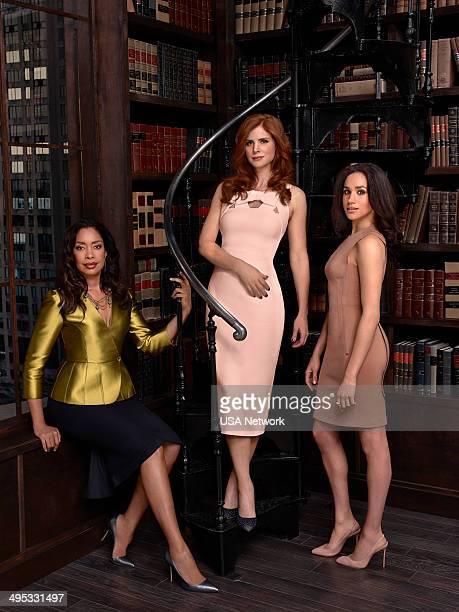 4 Pictured Gina Torres as Jessica Pearson Sarah Rafferty as Donna Paulsen Meghan Markle as Rachel Zane