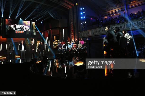 Season 5 finalists Erik Siuda Cleen Rock One and Jason Clay Dunn react onstage to host Dave Navarro judges Chris Nunez and Oliver Peck and Season 5...