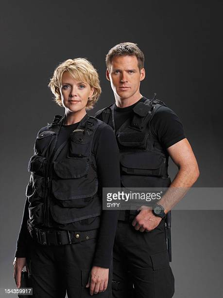 Season 5 -- Pictured: Amanda Tapping as Maj. Samantha Carter, Ben Browder as Lt. Colonel Cameron Mitchell --