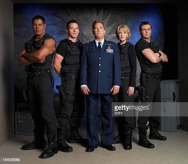 Season 5 -- Pictured: Christopher Judge as Teal'c, Ben Browder as Lt. Colonel Cameron Mitchell, Beau Bridges as Maj. General Hank Landry, Amanda...
