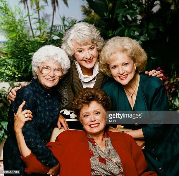 Season 5 -- Pictured: Estelle Getty as Sophia Petrillo, Bea Arthur as Dorothy Petrillo Zbornak, Betty White as Rose Nylund, Rue McClanahan as Blanche...