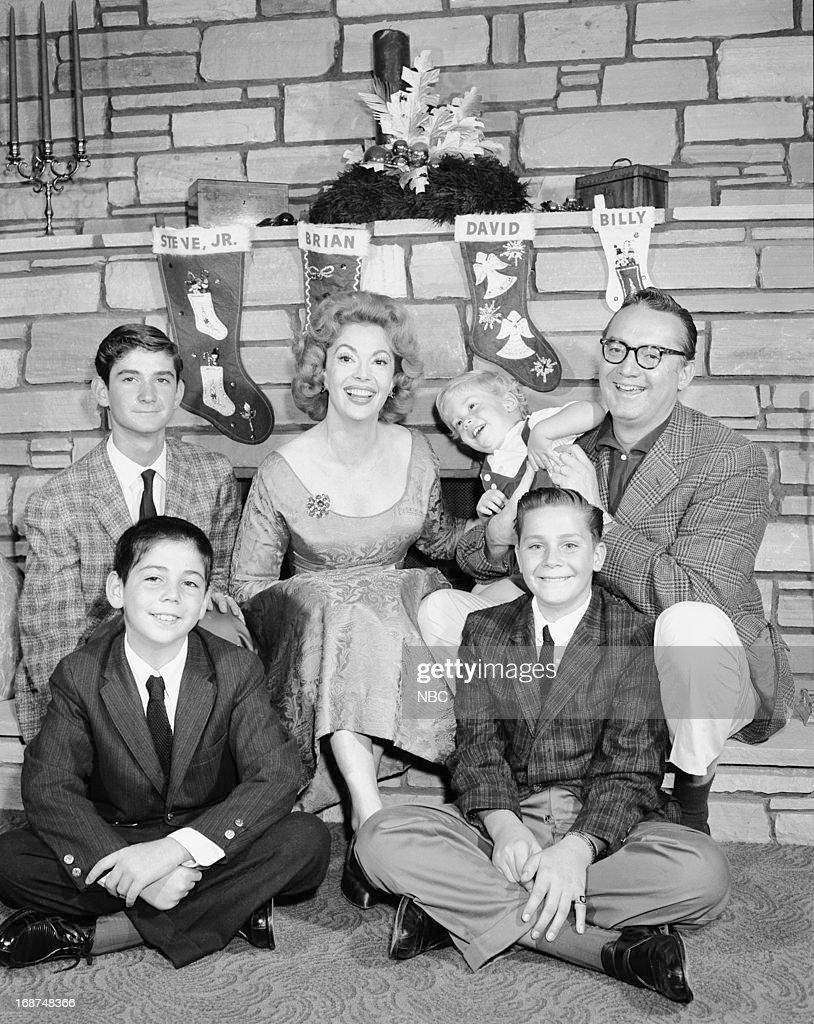 Steve Allen Jr., Jayne Meadows, William 'Billy' Allen, Steve Allen (front row l-r) Brian Allen, David Allen in 1959 --