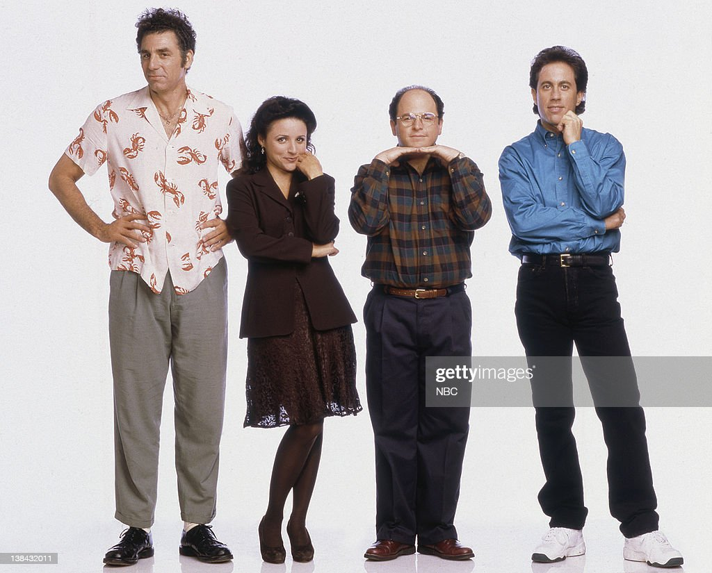 Michael Richards as Cosmo Kramer, Julia Louis-Dreyfus as Elaine Benes, Jason Alexander as George Costanza, Jerry Seinfeld as Jerry Seinfeld