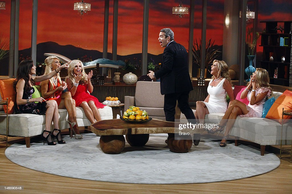 COUNTY -- 'Season 7 Reunion' -- Pictured: (l-r) Heather Dubrow, Gretchen Rossi, Tamra Barney, host Andy Cohen, Vicki Gunvalson, Alexis Bellino --