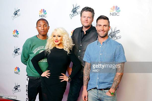 THE VOICE 'Season 8 Press Junket' Pictured Pharrell Williams Christina Aguilera Blake Shelton Adam Levine