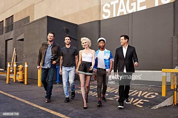 Pictured: Blake Shelton, Adam Levine, Gwen Stefani, Pharrell Williams, Carson Daly --