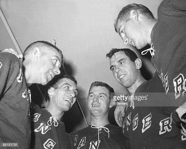 Andy Hebenton Andy Bathgate Earl Ingarfield Jack McCartain and Vic Hadfield