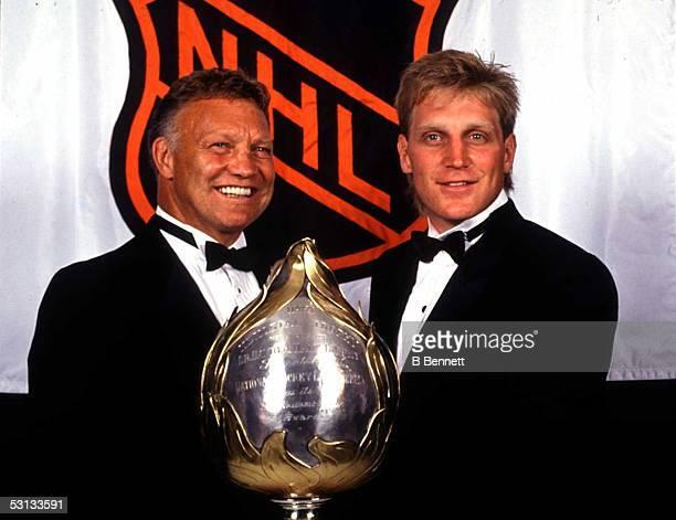 Bobby Hull with superstar son Brett Hull at the 1991 NHL Awards in Toronto.