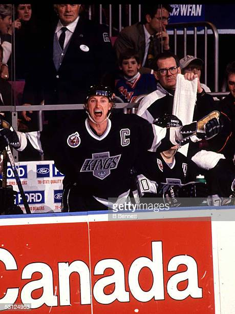 Captain Wayne Gretzky shouts instructions from the bench