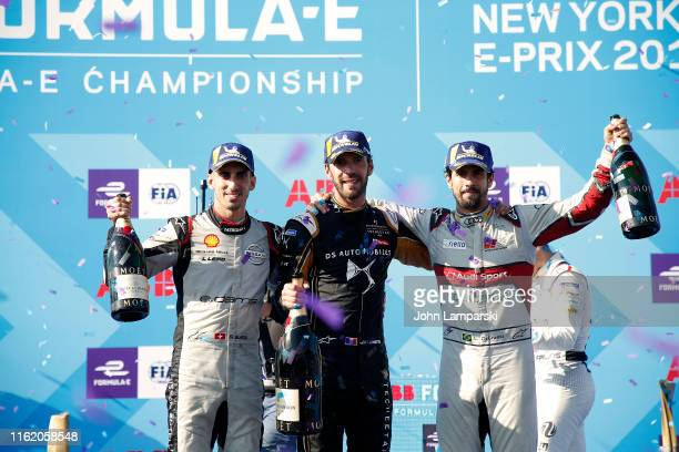 Season Championship winning drivers Sebastian Buemi of Nissan edams overall winner JeanEric Vergne of Team TECHEETAH and Lucas di Grassi of Team Audi...