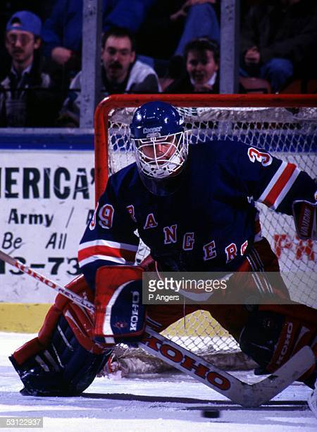 Daniel Cloutier of the Binghamton Rangers and Player Cloutier