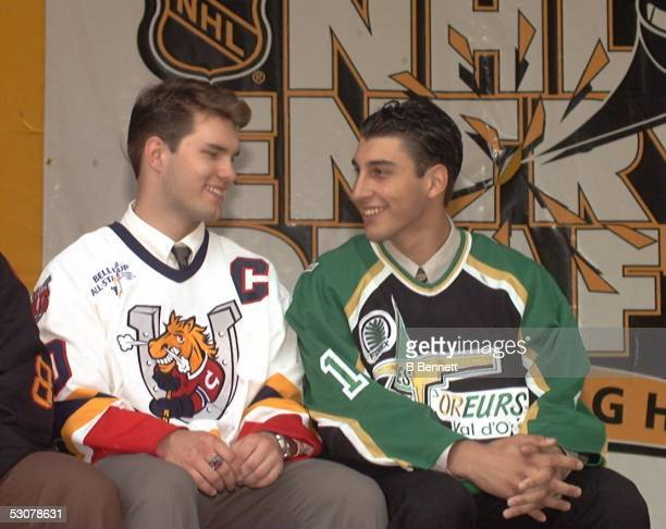 Daniel Tkaczuk of the OHL Barrie Colts and Goalie Roberto Luongo of the QMJHL Val d'Or Foreurs during introductions at Top Prospect Preview