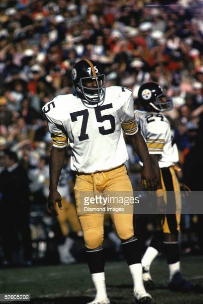 Defensive lineman Mean Joe Greene of the Pittsburgh Steelers awaits the next play during a game in the 1975 Season