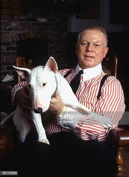 Don Cherry hockey personality of Hockey Night in Canada with his dog Blue