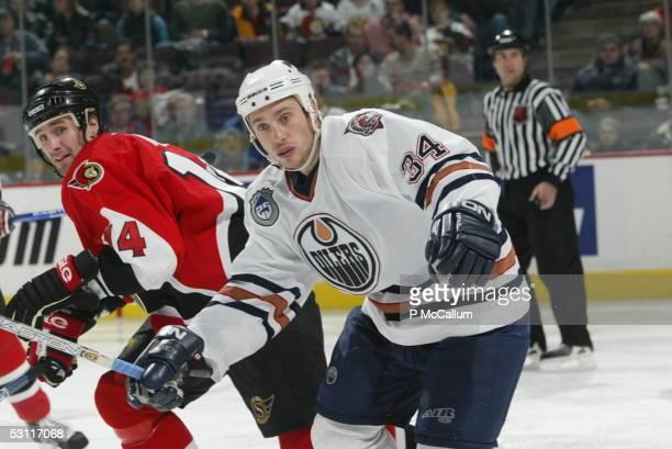 Edmonton Oilers vs Ottawa Senators at the Corel Centre in Ottawa on Thursday November 6 and Player Fernando Pisani