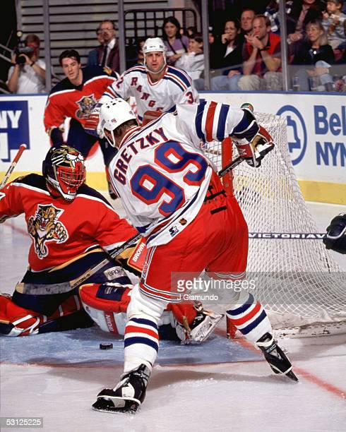Gretzky on the doorstep is stopped by John Vanbiesbrouck of the Panthers And Player Wayne Gretzky