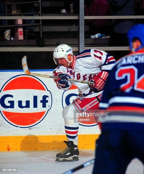 Jari Kurri follows through on a slapshot during his first game as a Ranger at Madison Square Garden