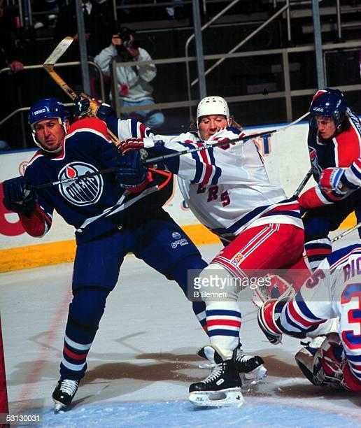 Marty McSorley defends the Ranger net against Edmonton