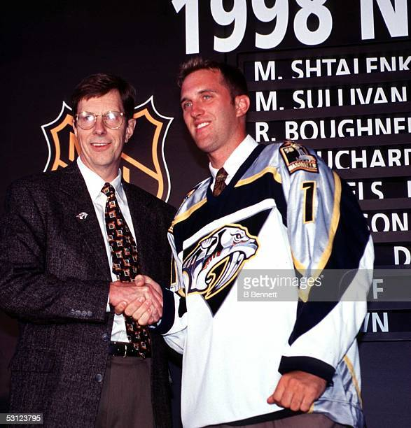 Mike Dunham at the podium after being selected by the Nashville Predators in the 1998 Expansion Draft.