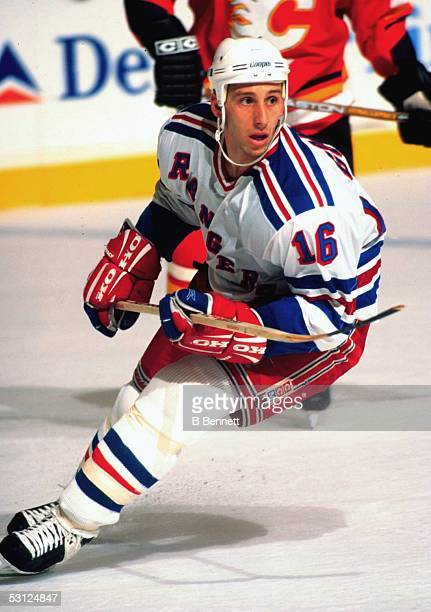 New York Ranger rookie left wing Daniel Goneau in action against the Calgary Flames