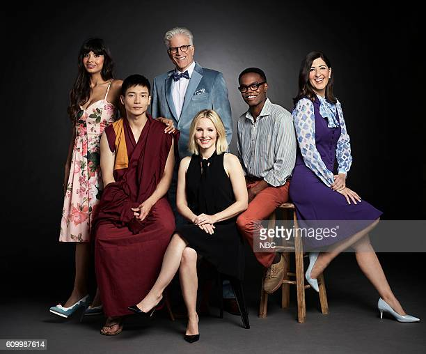 Pilot Pictured Jameela Jamil as Tehani Manny Jacinto as Jianyu Ted Danson as Michael Kristen Bell as Eleanor William Jackson Harper as Chidi D'Arcy...