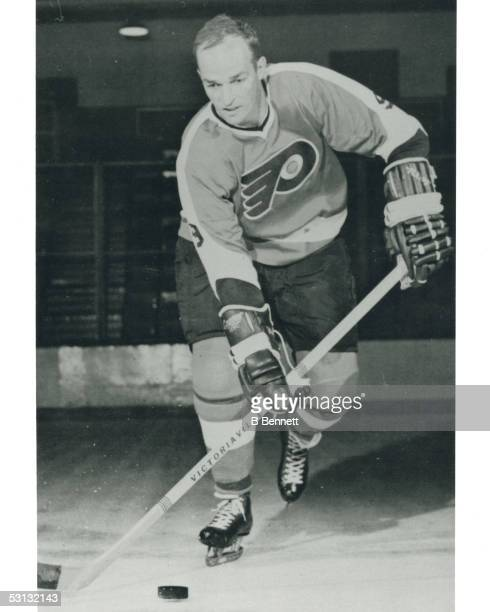 Player Leon Rochefort of the Philadelphia Flyers And Player Leon Rochefort