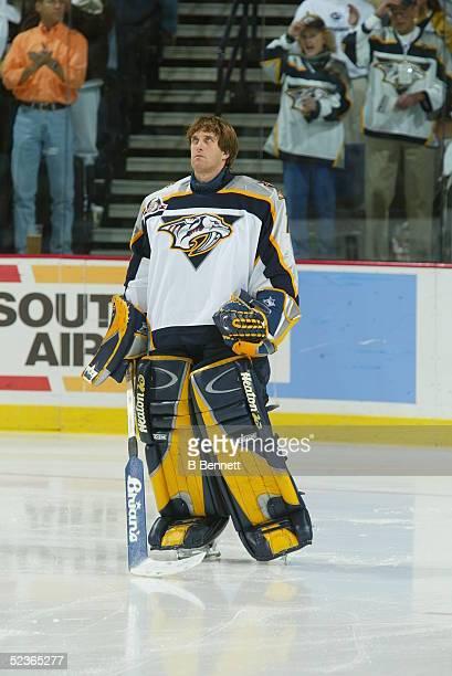 Player Mike Dunham of the Nashville Predators.