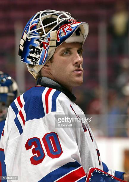 Player Mike Dunham of the New York Rangers.