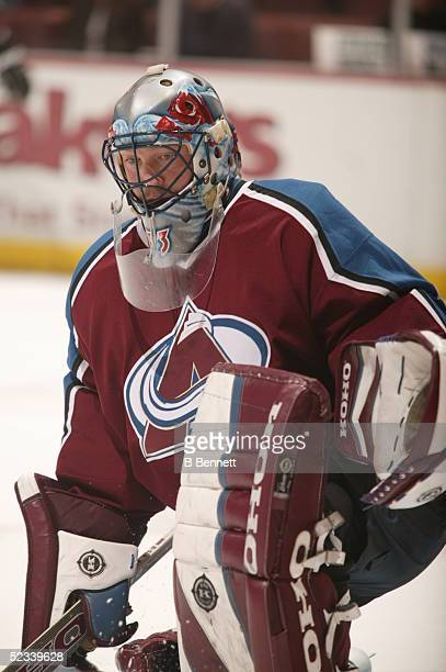 Player Patrick Roy of the Colorado Avalanche