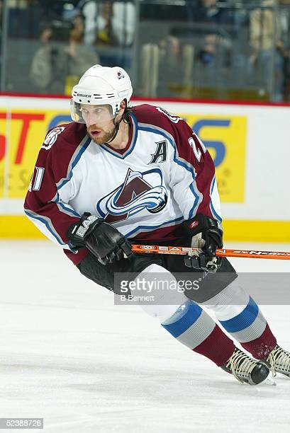 Player Peter Forsberg of the Colorado Avalanche