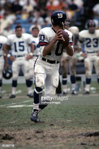 Quarterback Fran Tarkenton of the New York Giants drops back to pass during a game in 1968