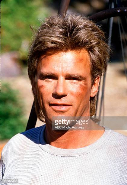 MACGYVER GX1 Season Three 11/2/87 Richard Dean Anderson races to recover equipment from a downed experimental plane before the Soviets who are using...