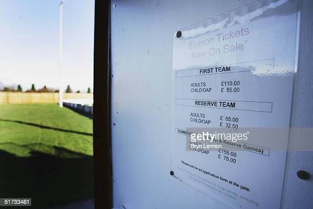 A season tickets for sale sign is seen at Histon's ground The Bridge prior to the FA Cup match between Histon FC and Shrewsbury Town on November 12...