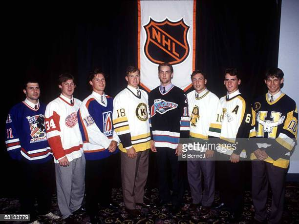 Top Eight NHL Draft Prospects from left to right Daymond Langkow Bryan Berard Shane Doan Chad Kilger Kyle McLaren Steve Kelly Wade Redden and Martin...