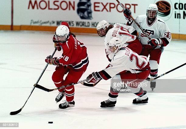 USA women Kelly O'Leary and Stephanie O'Sullivan chase Norway's Brigitte Lersgesen during 1997 Women's World Championships in Kitchener Ontario