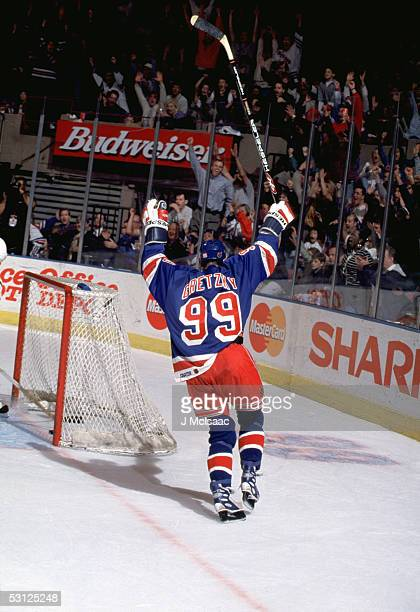 Wayne Gretzky notches his 1963rd NHL assist during his final game at the Garden bring his NHL point total to an amazing 2857