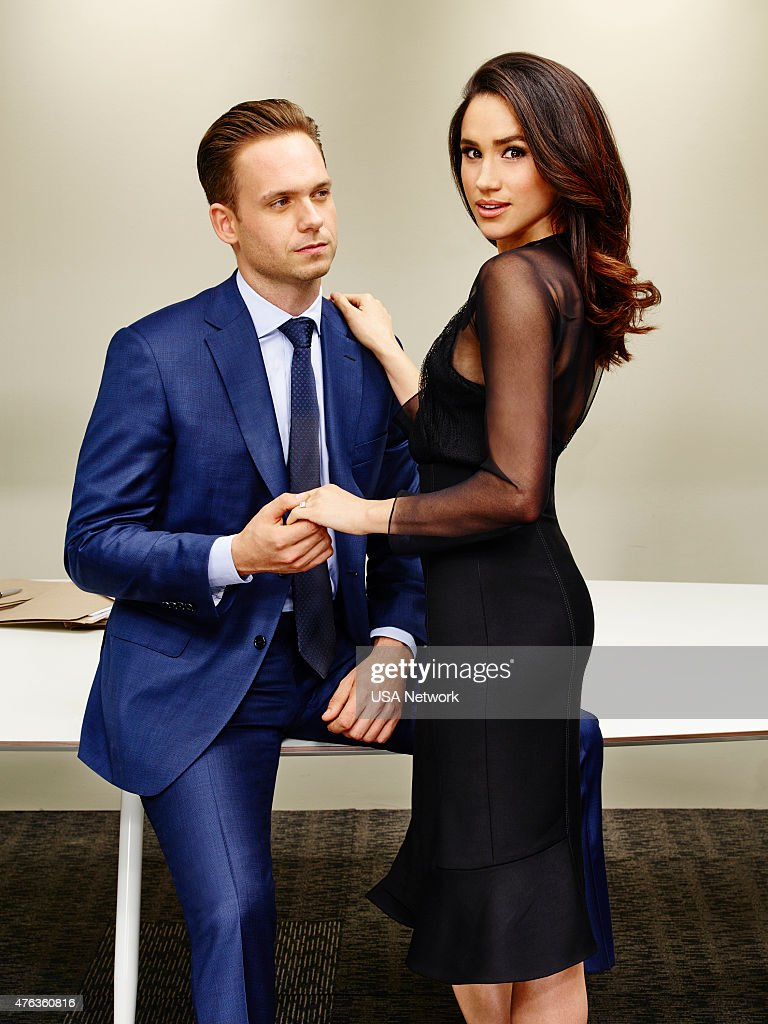 Patrick J. Adams as Michael Ross, Meghan Markle as Rachel Zane --