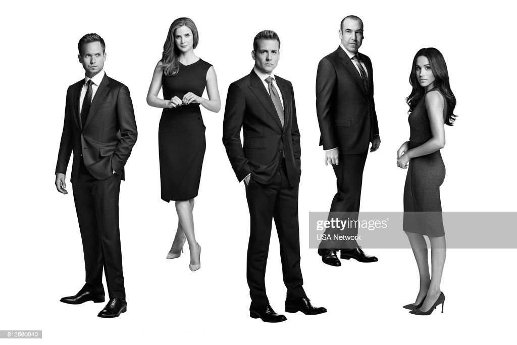 Patrick J. Adams as Mike Ross, Sarah Rafferty as Donna Paulsen, Gabriel Macht as Harvey Specter, Rick Hoffman as Louis Litt, Meghan Markle as Rachel Zane --