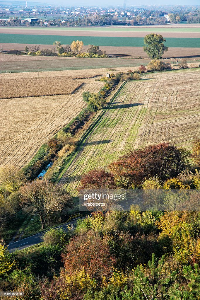 Seasonal natural outdoors scene - colorful forest and fields : Foto de stock
