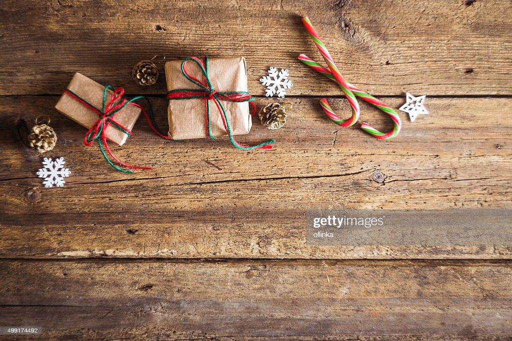 Seasonal Rustic Christmas Border Composed Of Decorative Gifts Stock Photo